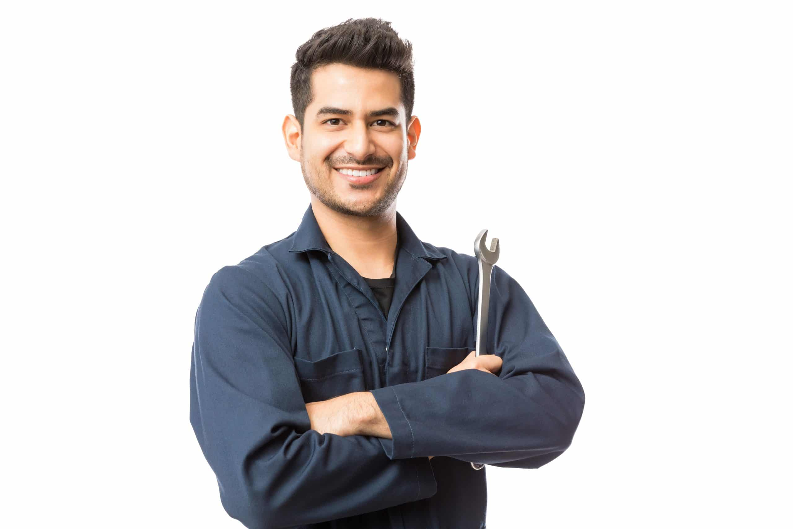 Smiling,Auto,Mechanic,With,Wrench,Standing,Hands,Folded,On,White